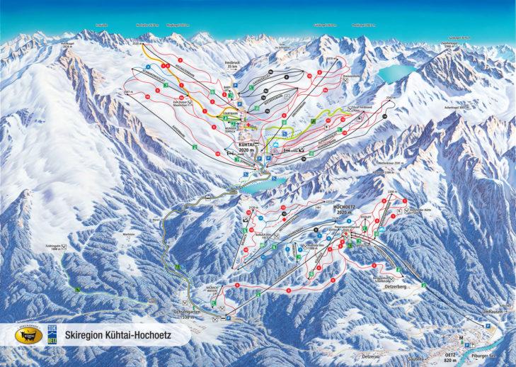 Pistenplan Skiregion Kühtai-Hochoetz