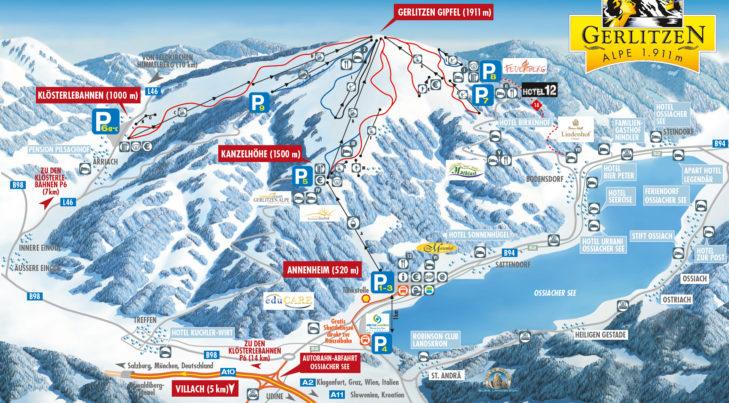 Pistenplan Skigebiet Gerlitzen