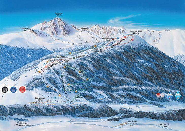 Pistenplan Skigebiet Rangger Köpfle
