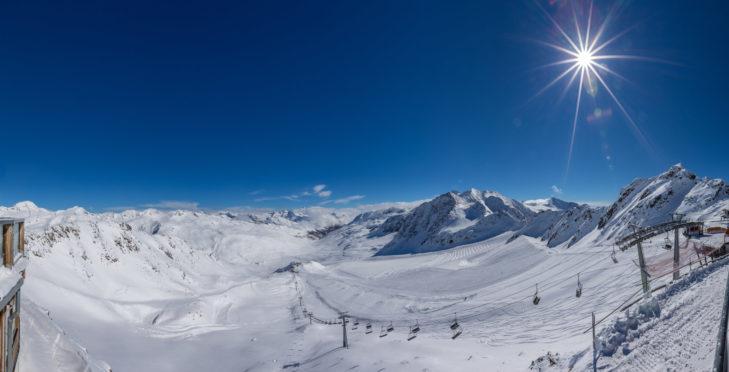 Aussicht über den Schnalstaler Gletscher.