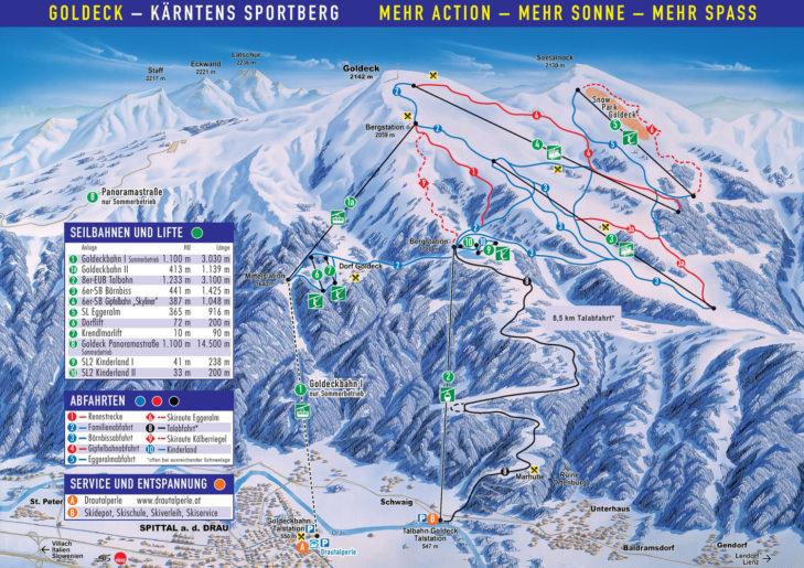 Pistenplan Skigebiet Goldeck/Sportberg