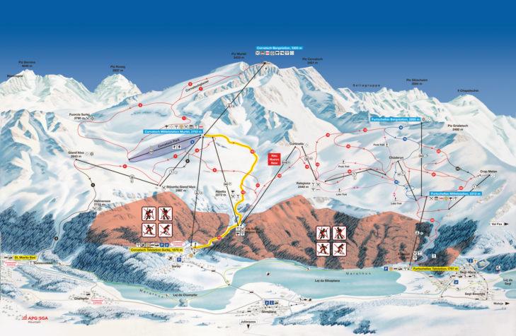 Pistenplan Skigebiet Piz Corvatsch