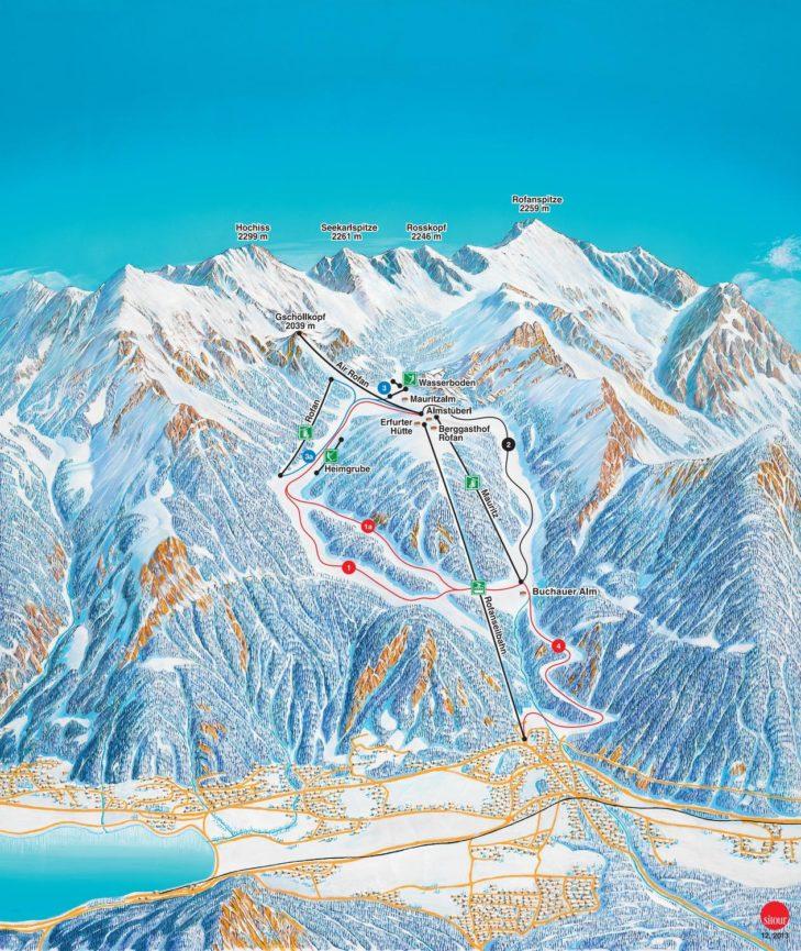 Pistenplan Skigebiet Rofan
