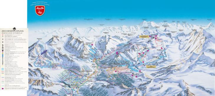 Pistenplan Skigebiet Saas-Fee