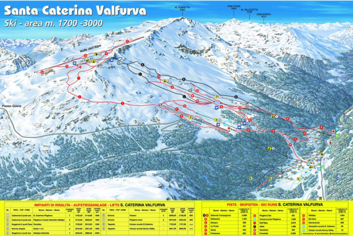 Pistenplan Skigebiet Santa Caterina Valfurva