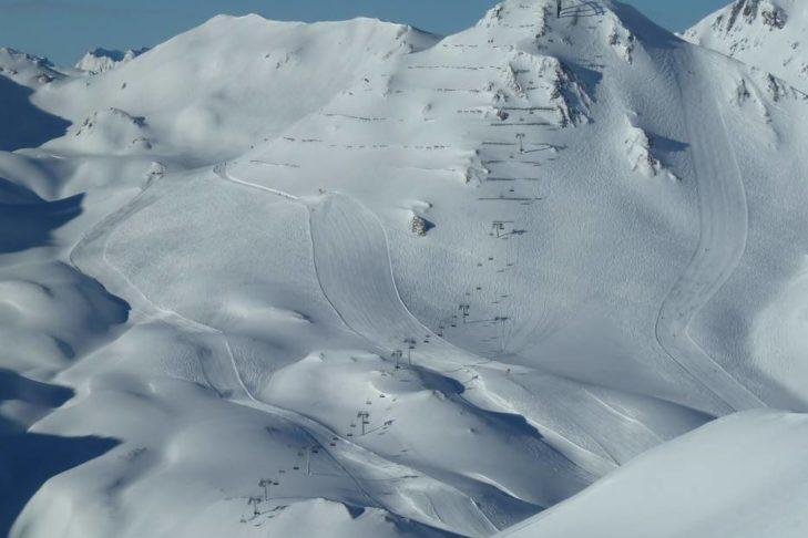 Weiße Hänge im Skigebiet Serfaus-Fiss-Ladis.