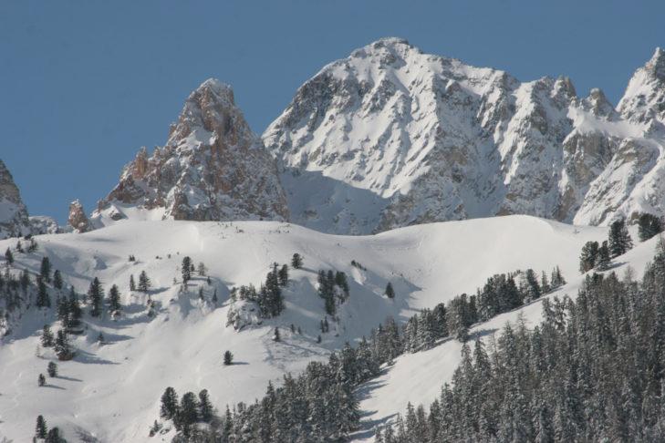 Verschneite Waldstücke im Skigebiet Valfréjus.