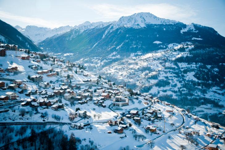 Luftaufnahme von Veysonnaz.