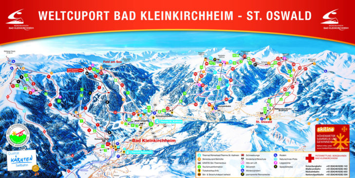 Pistenplan Skigebiet Bad Kleinkirchheim/St. Oswald.