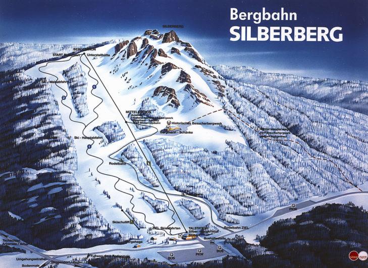 Pistenplan Skigebiet Silberberg.