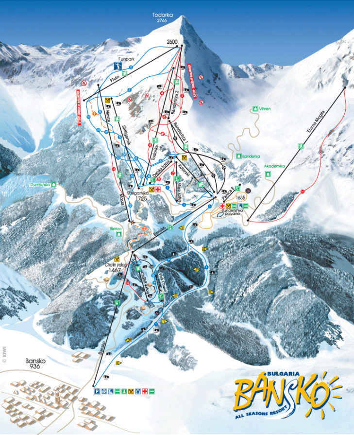 Slope map of the Bansko ski area