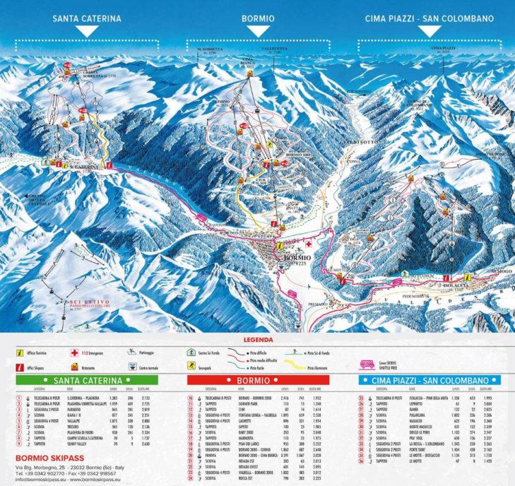 Piste map of the Bormio ski area