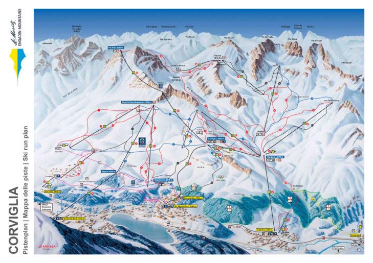 Corviglia ski area map
