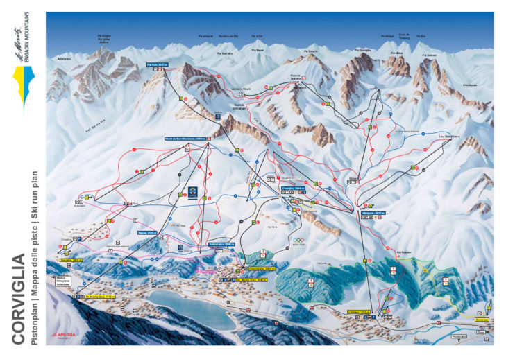 Pistenplan Skigebiet Corviglia