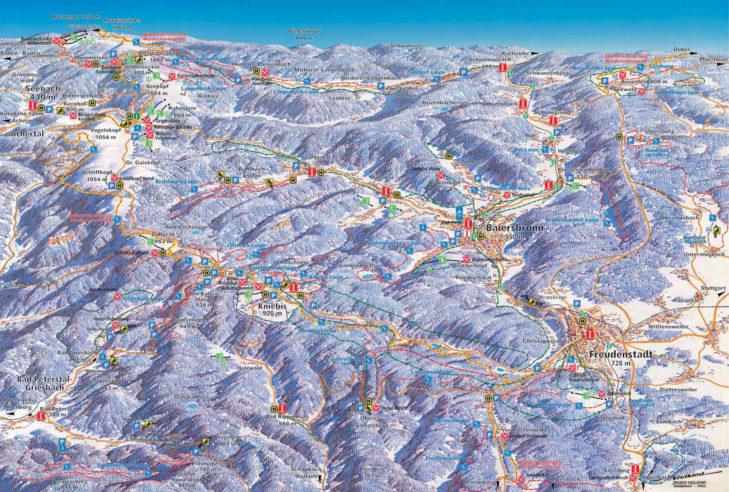 Pistenplan Skigebiet Freudenstadt-Kniebis.
