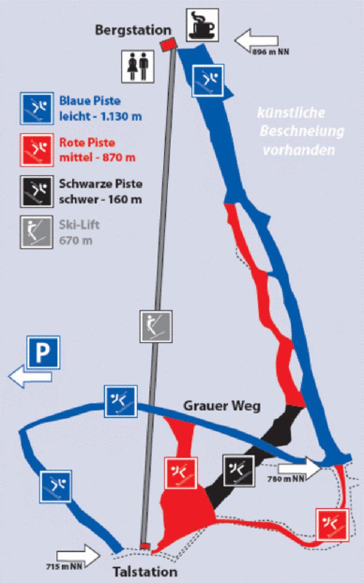 Pistenplan Skigebiet Inselsberg.