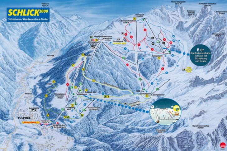Pistenplan Skigebiet Schlick 2000.