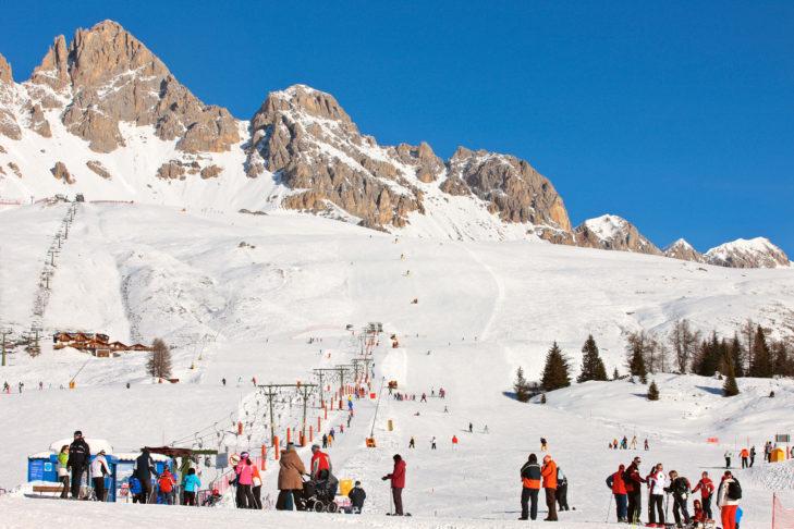 Toller Berg-Anblick im Skigebiet Alpe Lusia-San Pellegrino.