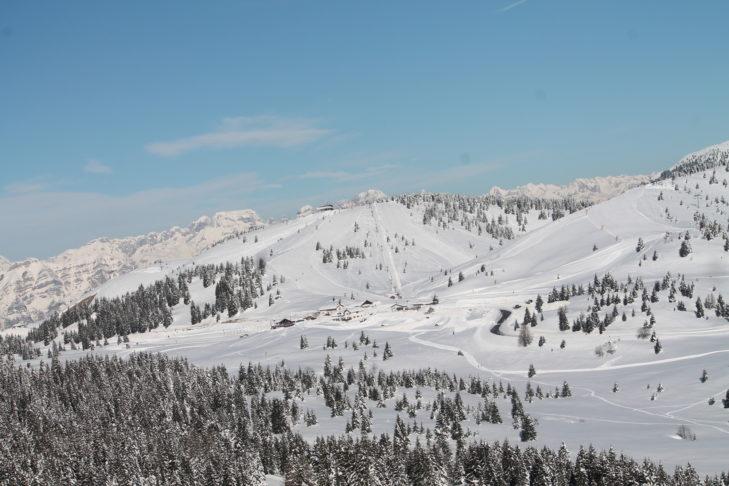 Sanft geneigte Hänge im Skigebiet Folgaria-Lavarone.