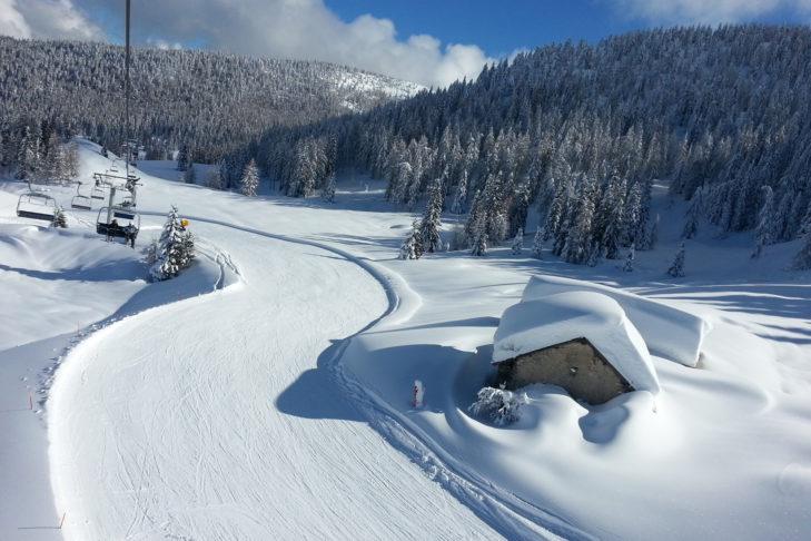 Piste auf der Alpe Cimbra.