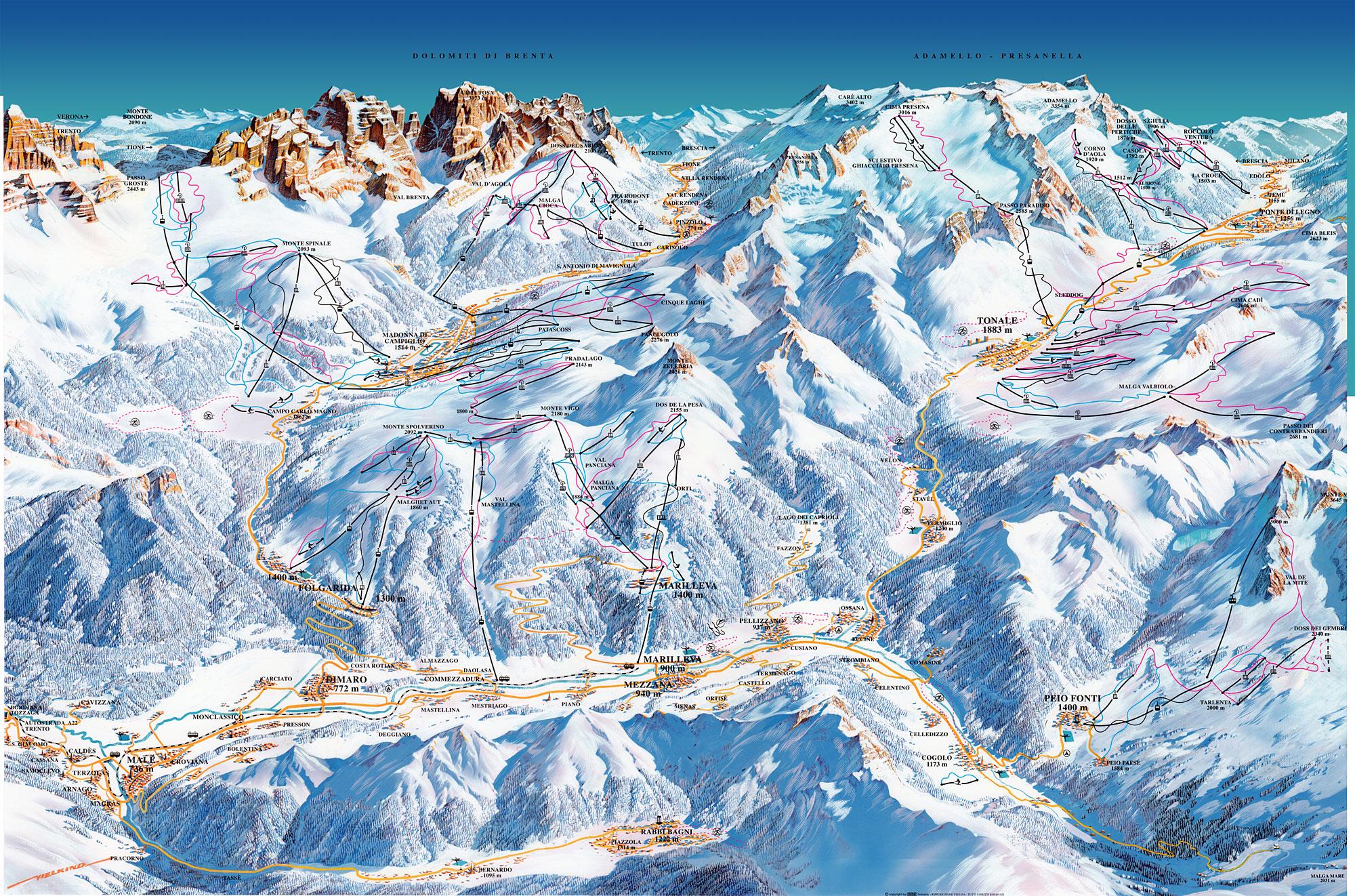 Skigebiet Folgarida Folgarida Marilleva Skifahren Pistenplan