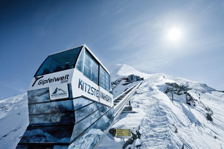 Wechsel des Skigebiets: Gondel am Kitzsteinhorn