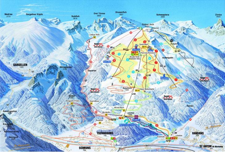 Pistenplan Skigebiet Golm
