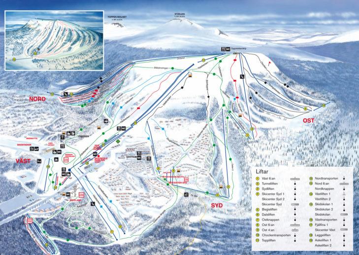 Pistenplan Skigebiet Idre Fjäll