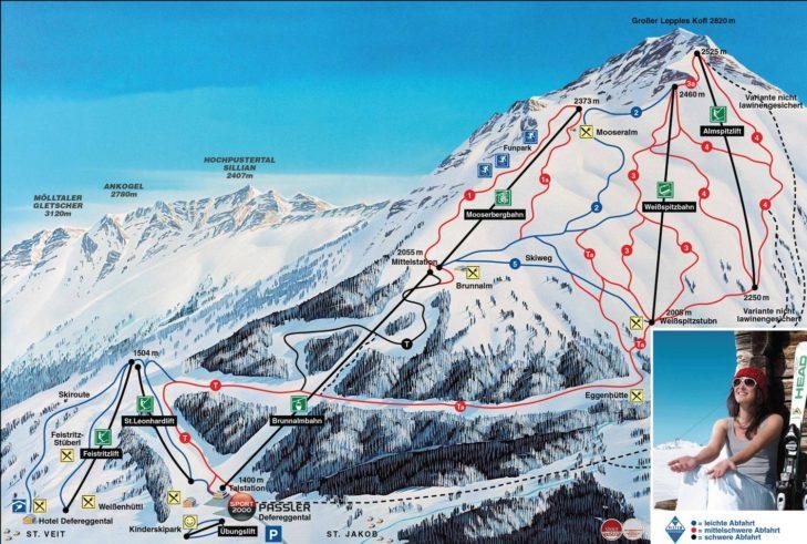 Pistenplan Skigebiet Brunnalm