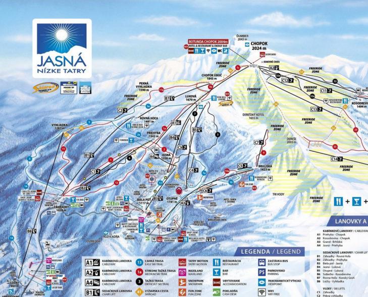 Pistenplan Skigebiet Jasná