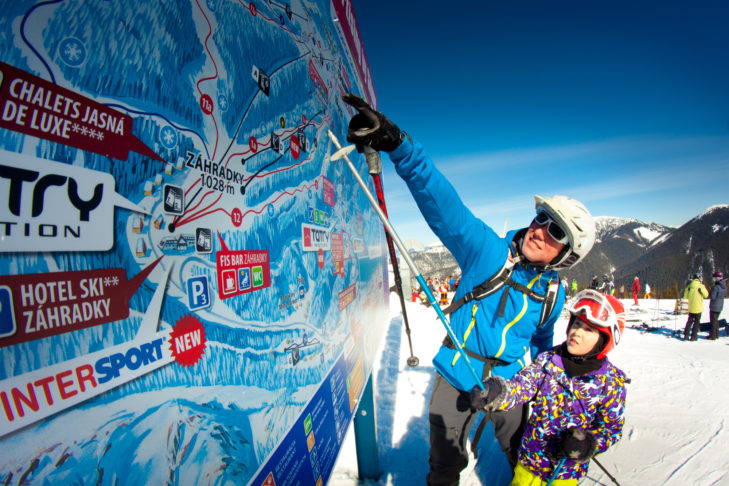 Die gute Beschilderung zeichnet die Infrastruktur im Skigebiet aus.