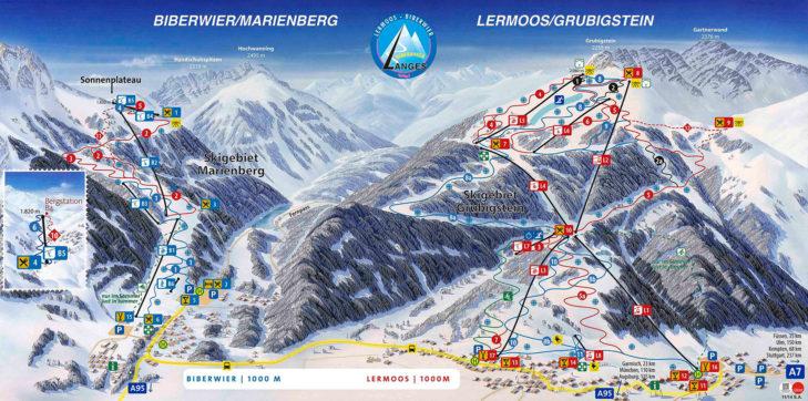 Pistenplan Skigebiet Lermoos/Grubigstein