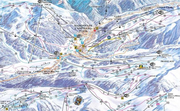 Pistenplan Skigebiet Madonna di Campiglio.