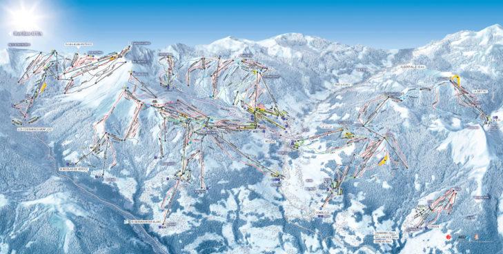 Pistenplan Skigebiet Évasion Mont-Blanc.