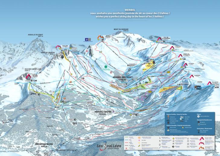 Pistenplan Skigebiet Méribel.