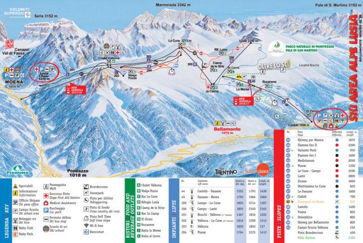 Pistenplan Skigebiet Alpe Lusia-San Pellegrino.