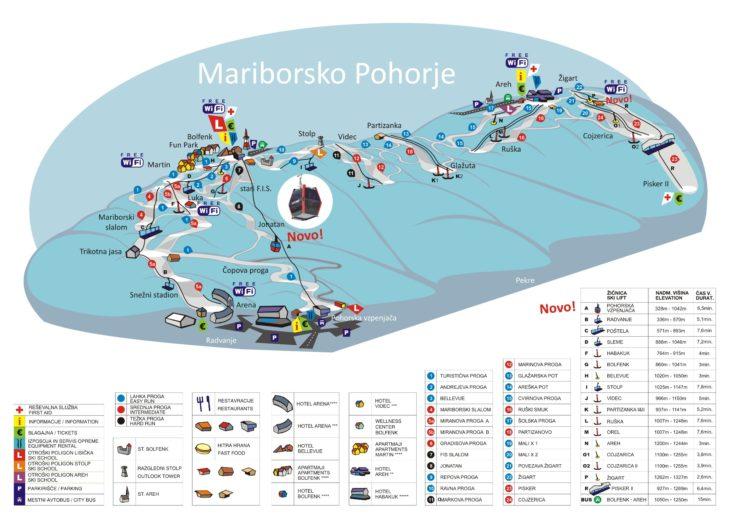 Pistenplan Skigebiet Mariborsko Pohorje