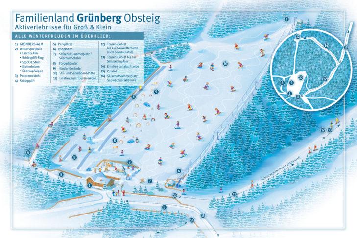Pistenplan Skigebiet Grünberg.