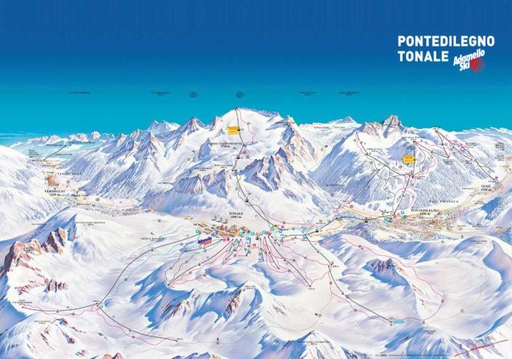 Pistenplan Skigebiet Adamello Ski.