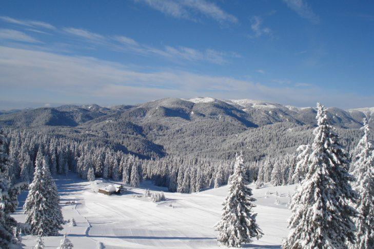 Luftaufnahme der Pisten von Pamporovo.
