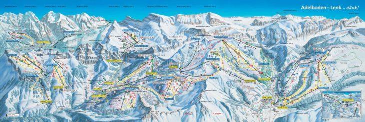Pistenplan Skigebiet Adelboden-Lenk.