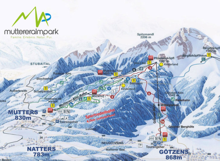 Pistenplan Skigebiet Muttereralmpark.