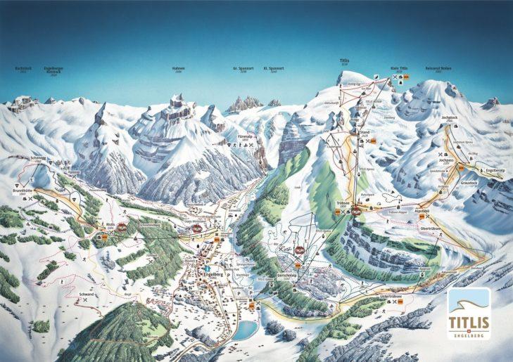 Pistenplan Skigebiet Engelberg-Titlis.