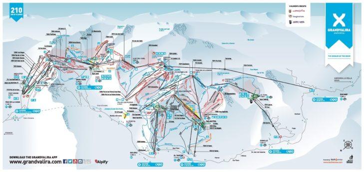 Grandvalira ski area piste map.