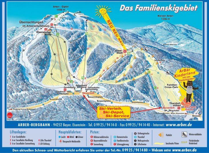 Pistenplan Skigebiet Großer Arber.