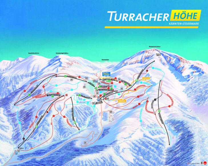 Pistenplan Skigebiet Turracher Höhe.