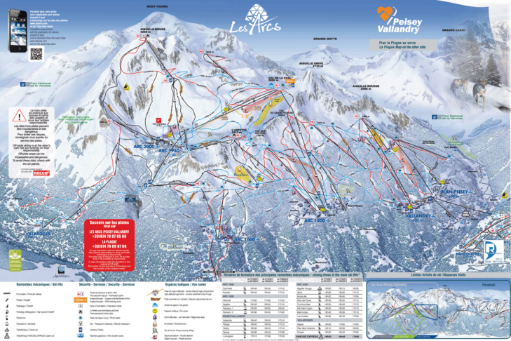 Pistenplan Skigebiet Les Arcs/Peisey-Vallandry.