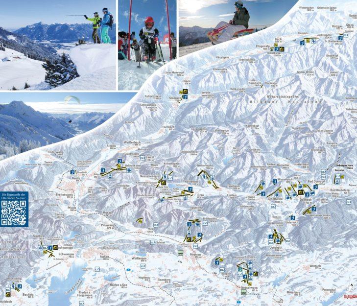 Pistenplan Skigebiet Allgäu/Tirol Vitales Land.