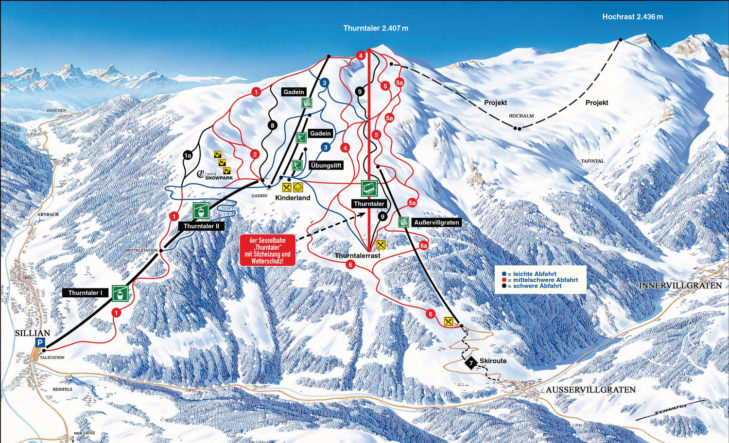 Pistenplan Skigebiet Sillian/Thurntaler.