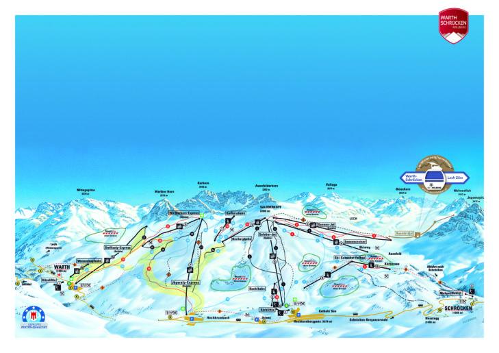Pistenplan Skigebiet Warth-Schröcken